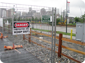 Rental Fencing With Warning Sign
