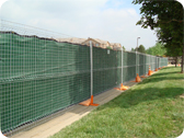 Temporary Fence With Green Material Cover